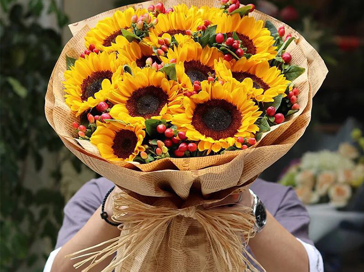 暖暖的你|9枝向日葵花束d款