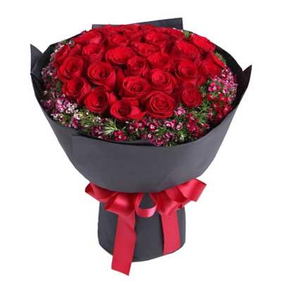 鲜花绿植 三生三世—33枝红玫瑰花束  包装:黑色卡纸圆形包装,红色
