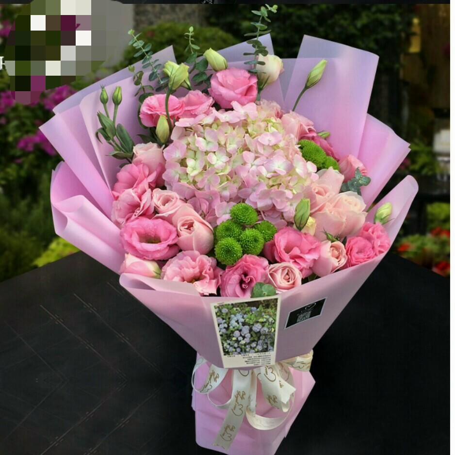 花材绣球一个戴安娜9支粉色洋桔梗小菊尤加利叶制作粉色雾纸