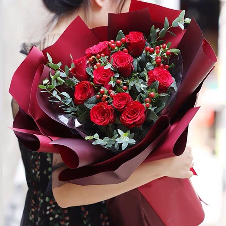 花店鲜花红玫瑰花鲜花速递同城花店配送11朵订花送花上门