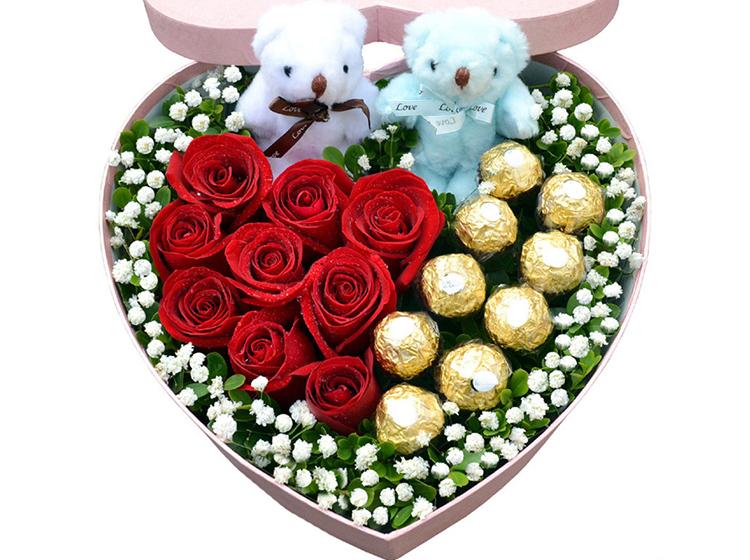 【甜蜜爱人】9枝红玫瑰9颗费列罗礼盒A款
