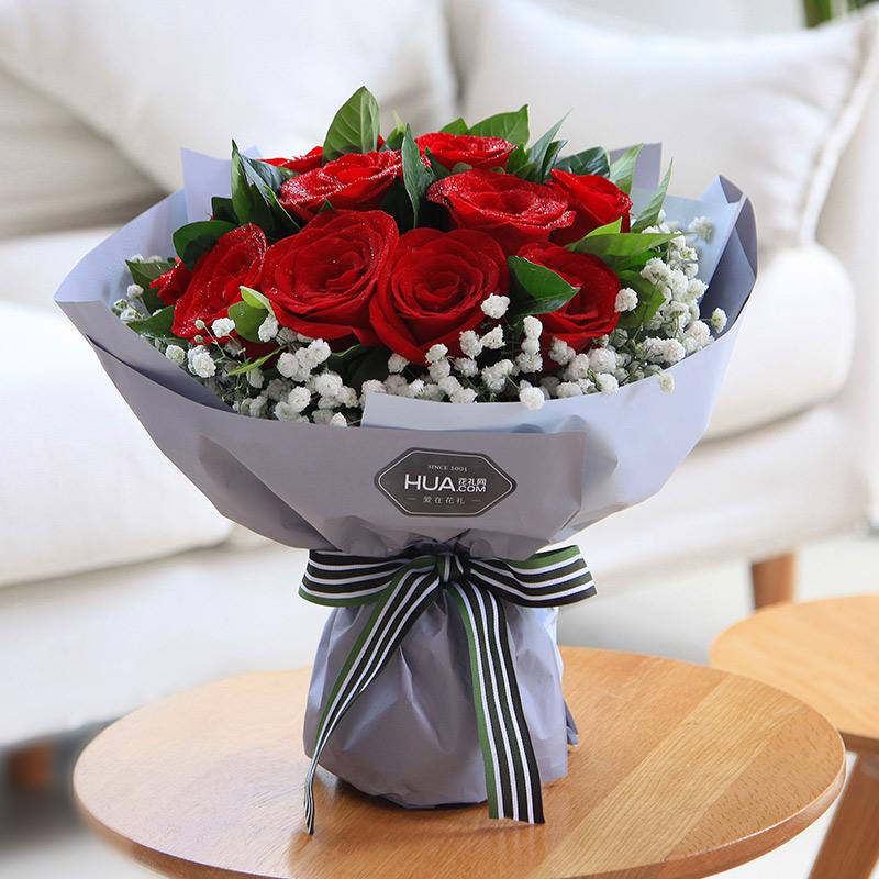 致美丽的你-11朵玫瑰花束生日表白送女友花店同城订花送花配送