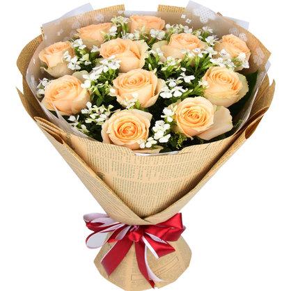 传递情谊 11朵香槟玫瑰花束