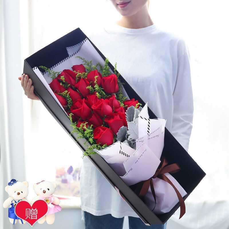 【十里桃花】19枝红玫瑰小熊礼盒