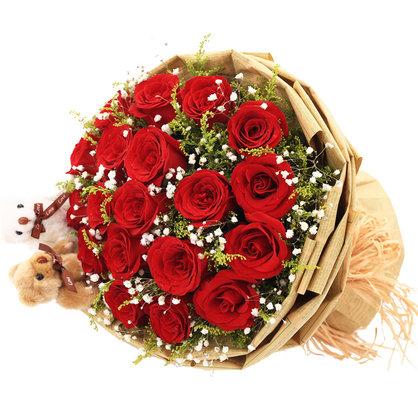 恋你三世 19朵红玫瑰花束