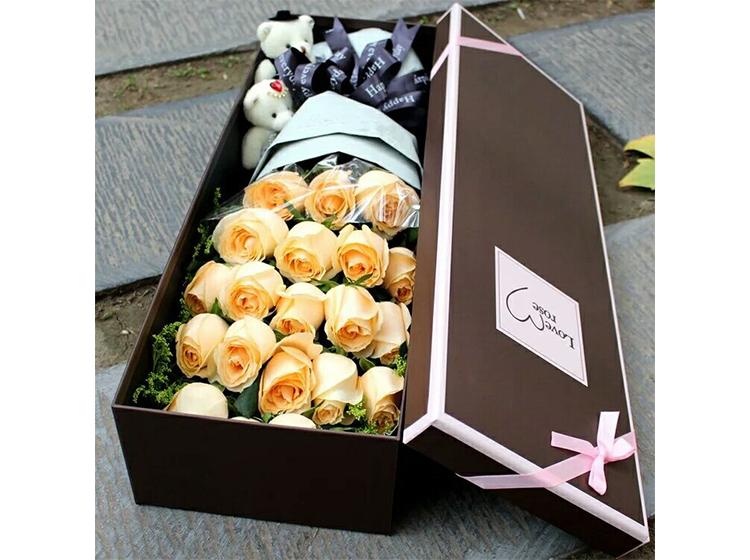 【穿过世界去爱你】19朵香槟玫瑰礼盒