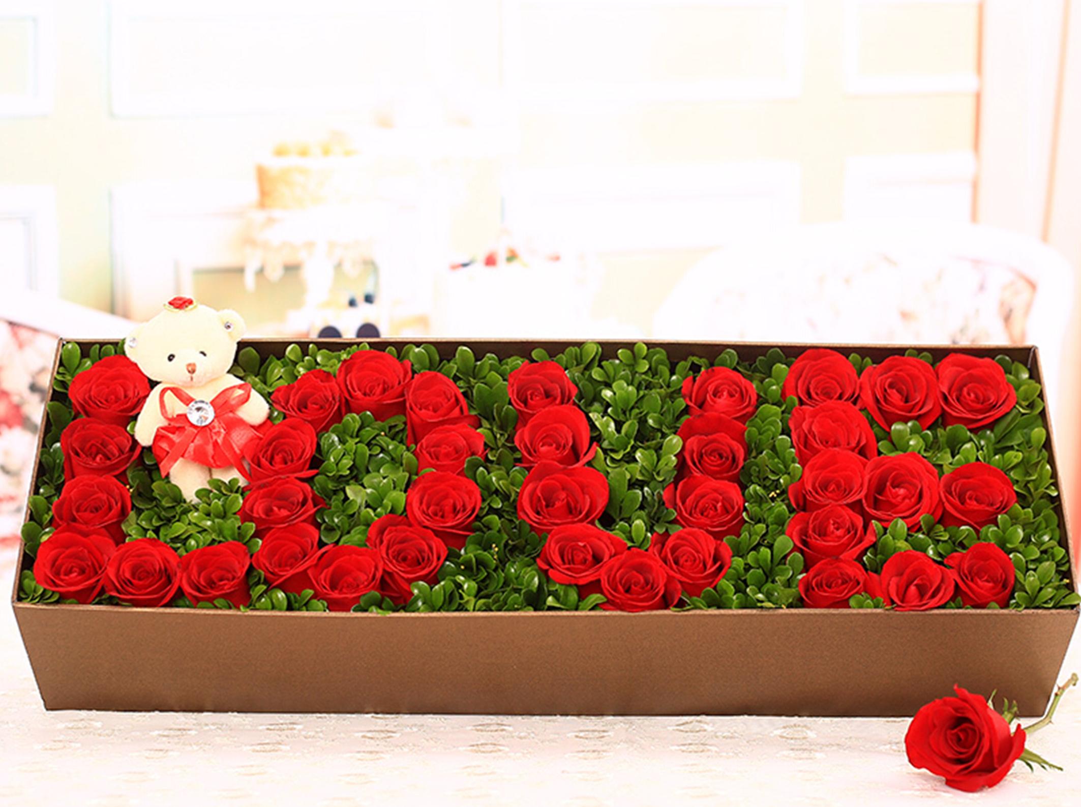【爱】33朵红玫瑰love礼盒