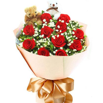 最真的爱 11朵红玫瑰花束